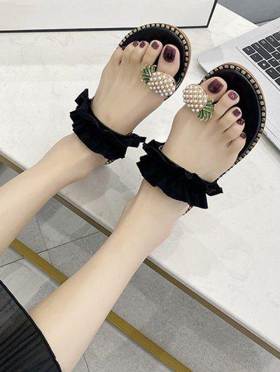 Pineapple Toe Ring Flat Slides Sandals - Black Eu 38