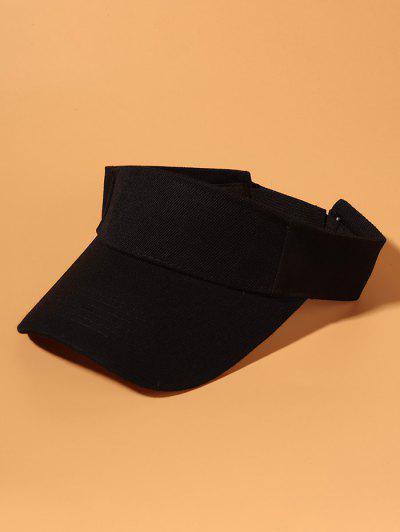 Solid Cotton Visor Cap - Black