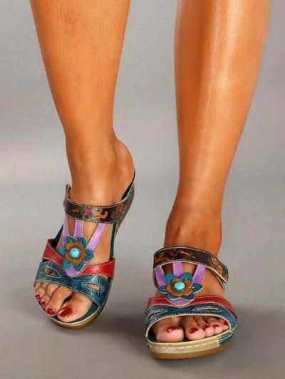 Ethnic Colorblock Flower Slides Sandals - Macaw Blue Green Eu 37