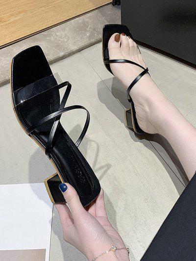 Strappy Clear Vamp Square Toe Slip-On Sandals - Black Eu 36