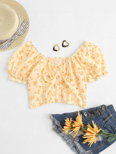 Printed Button Down Smocked Back Crop Milkmaid Top - Light Yellow S
