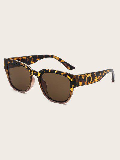 Retro Patterned Square Sunglasses - Tiger Orange