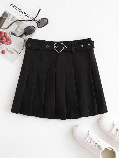 Heart-ring Belt Pleated Mini Skirt - Black M