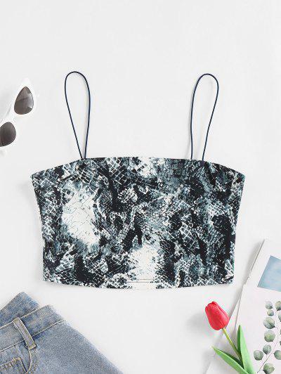 ZAFUL Animal Print Crop Cami Top - Blue Gray S