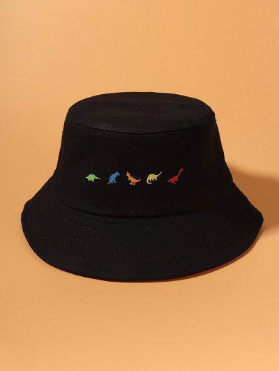 Printed Dinosaurs Bucket Hat - Black