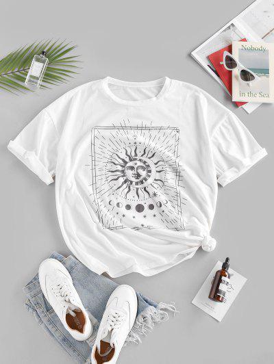 ZAFUL T-shirt Etoile Soleil Imprimés à Goutte Epaule Surdimensionné - Blanc M