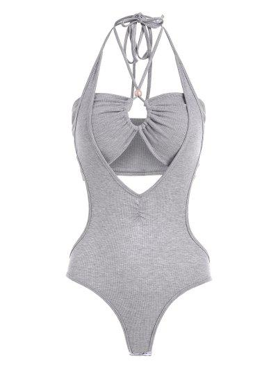 2pcs Halter Rib-knit Bandeau Top And Backless Bodysuit - Gray S