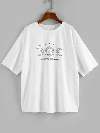 ZAFUL Moon And Sun Graphic Drop Shoulder Tee - White Xl