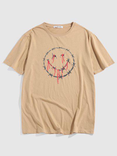 ZAFUL T-shirt De Base Visage Goutte Epaule à Manches Courtes - Café Lumière M