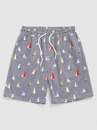 ZAFUL Sailboat Striped Pattern Vacation Shorts - Multi Xxl