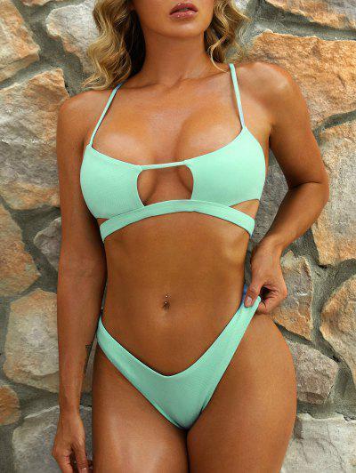 ZAFUL Maillot De Bain Bikini Découpé Texturé à Jambe Haute - Vert M