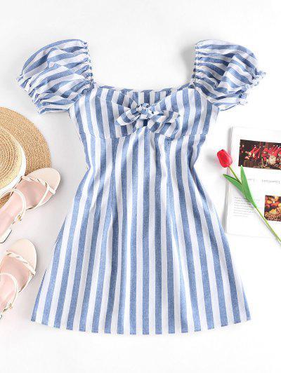ZAFUL Striped Tied Ruffle Puff Sleeve Dress - Blue M
