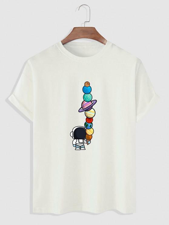 Planet Astronaut Print Basic T-shirt - أبيض L