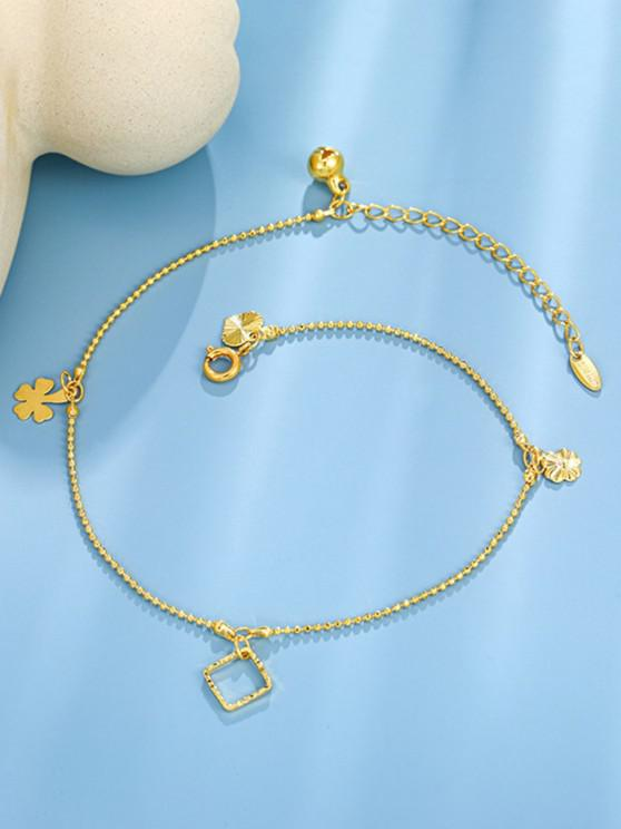 Golden Four Leaf Clover Bell Charm Anklet - ذهبي