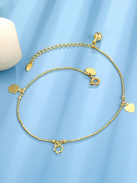 chic Golden Heart Flower Bell Charm Anklet - GOLDEN