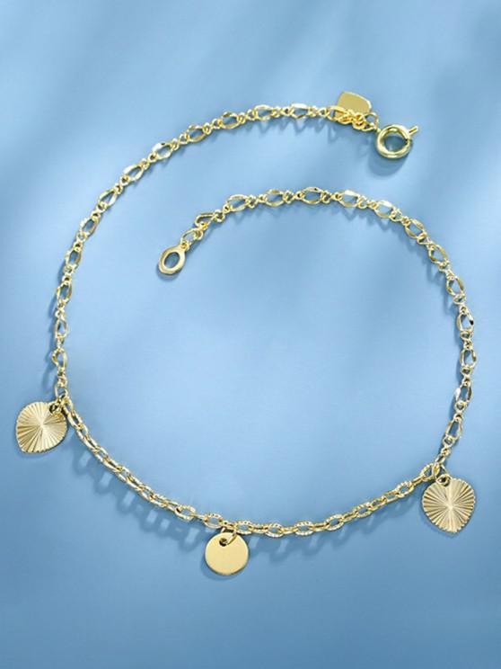 women's Golden Heart Charm Rolo Chain Anklet - GOLDEN