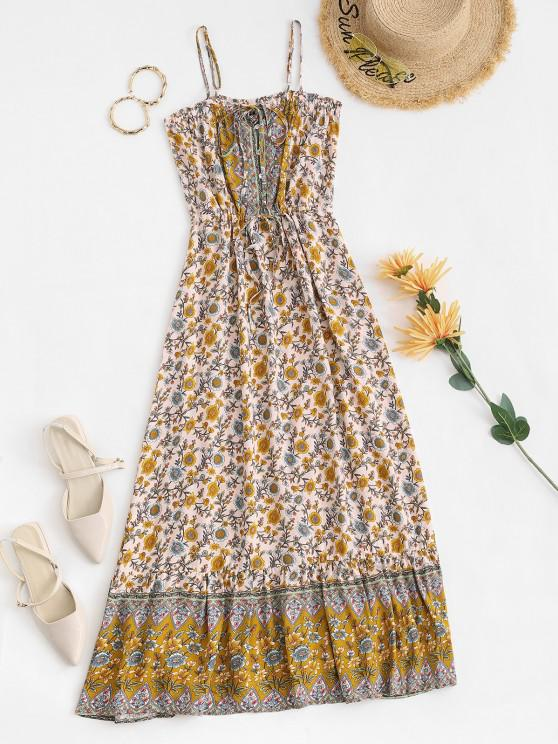 Maxi Robe Fleurie Taille à Cordon à Bretelle Style Bohémien - Jaune S
