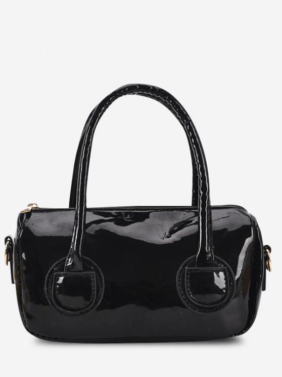 Faux Patent Leather Dual Handle Mini Crossbody Bag - أسود