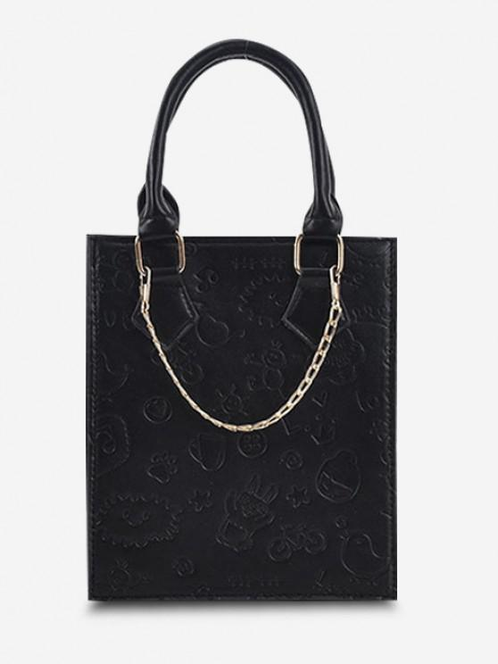 Embossed Chain Double Handle Elongated Tote Bag - أسود