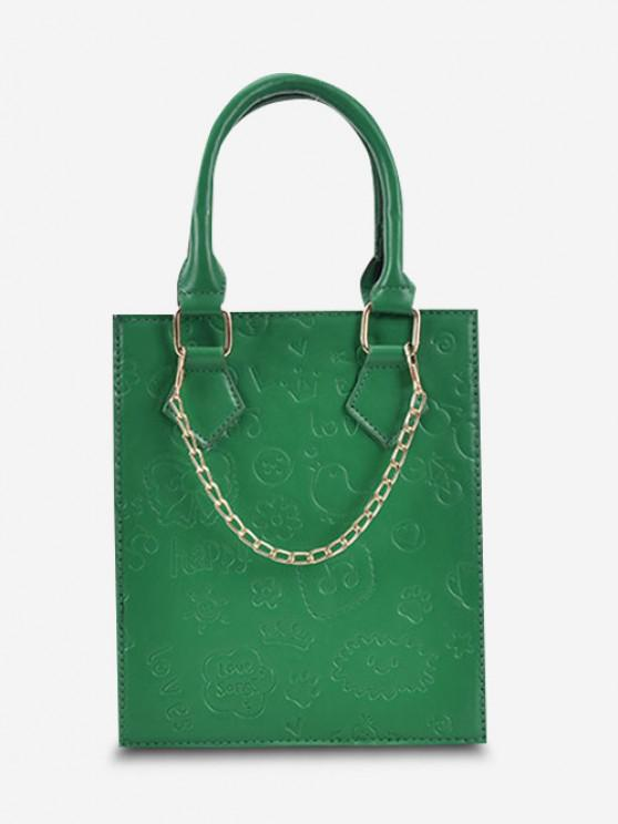 outfits Embossed Chain Double Handle Elongated Tote Bag - SEAWEED GREEN