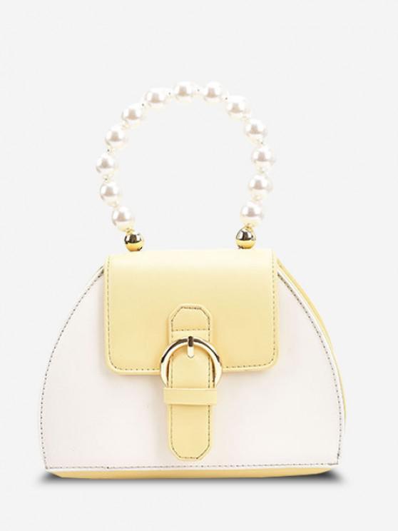 Faux Pearl Handle Buckle Colorblock Crossbody Bag - صن اصفر