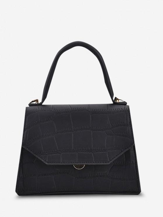 Embossed Top Handle Chain Flap Crossbody Bag - أسود