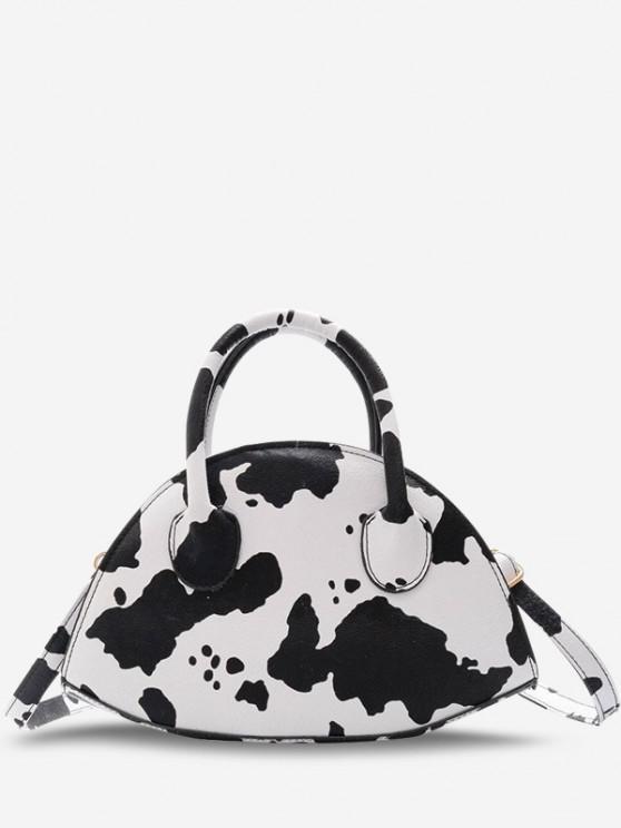 Animal Print Irregular Shape Dual Handle Crossbody Bag - أبيض