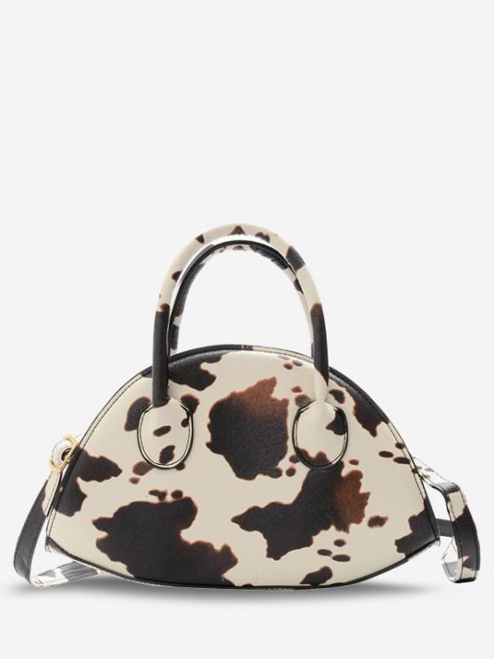 affordable Animal Print Irregular Shape Dual Handle Crossbody Bag - LIGHT KHAKI