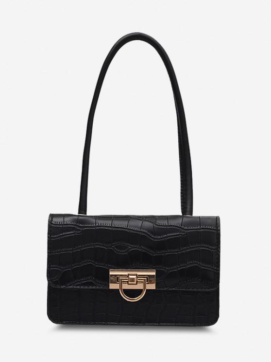 Animal Embossed Flap Shoulder Bag - أسود