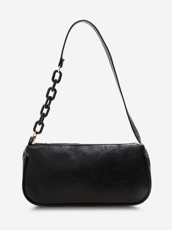 Cute Pattern Embossed Half Chain Solid Shoulder Bag - أسود
