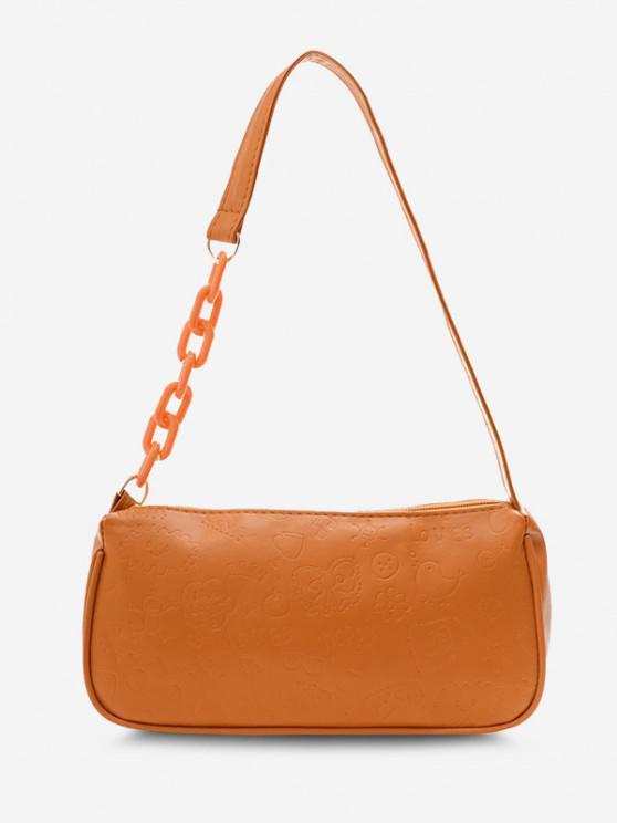 fancy Cute Pattern Embossed Half Chain Solid Shoulder Bag - LIGHT BROWN