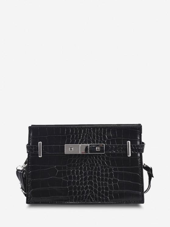 Embossed Belt Metal Embellished Crossbody Bag - أسود