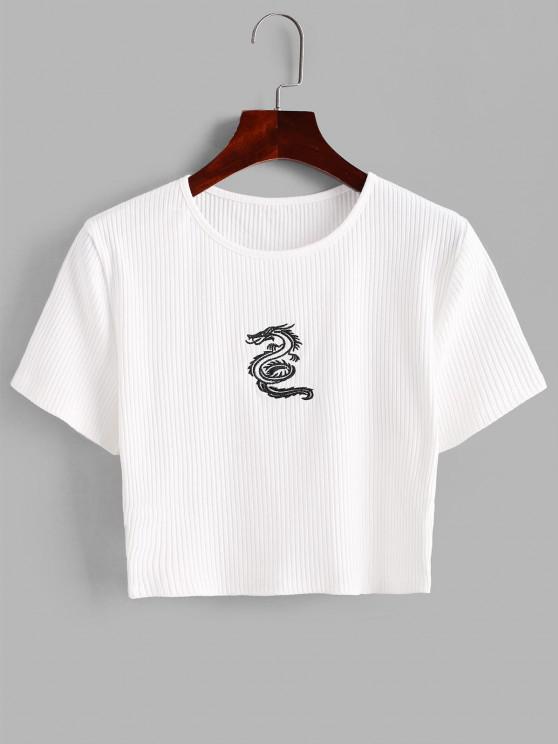 T-shirt Dragon Brodé Côtelé pour Bébé - Blanc S