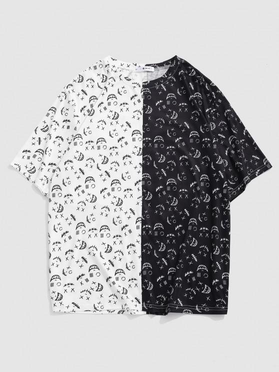 Cartoon Face Print Monochrome T-shirt - أبيض 2XL