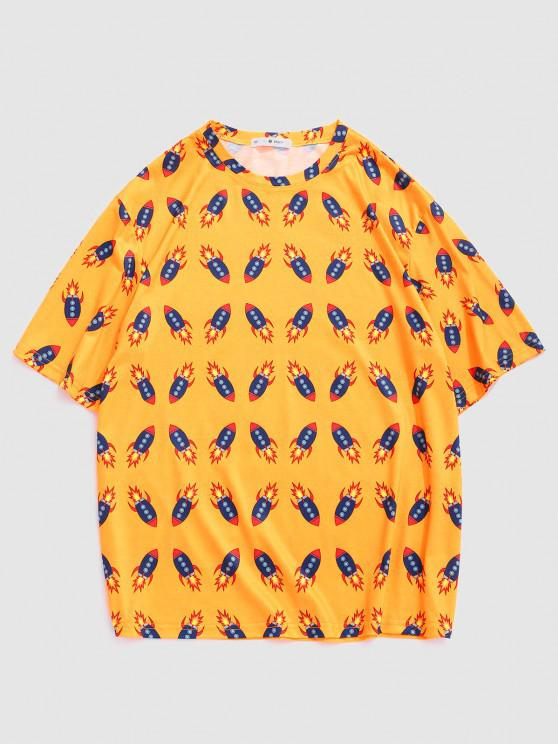 Cartoon Rocket Print Cute T-shirt - الأصفر L
