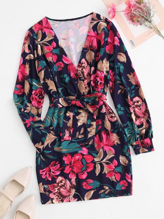 Robe Courte Florale Ceinturée à Manches Longues - Multi S