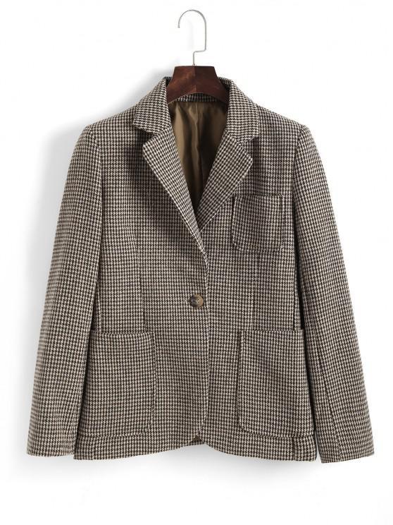 hot Houndstooth Front Pocket Tweed Blazer - LIGHT COFFEE M