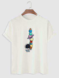 Planet Astronaut Print Basic T-shirt - White M