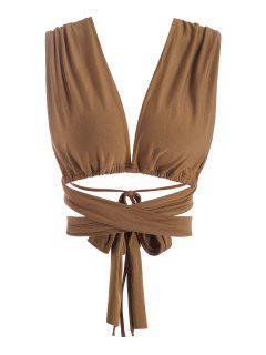 Tie Around Crisscross Open Back Crop Top - Coffee