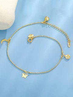 Bracelet De Cheville Charmant Papillon Lune Doré - D'or