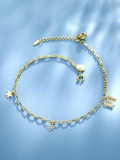 Golden Butterfly Flower Star Charm Anklet - Golden