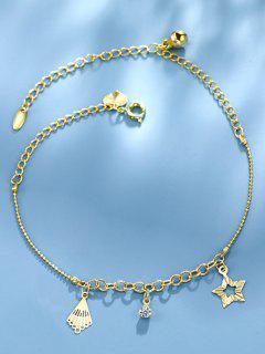 Golden Star Rhinestone Bell Charm Anklet - Golden