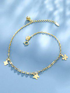 Butterfly Four-Leaf-Clover Charm Chain Anklet - Golden