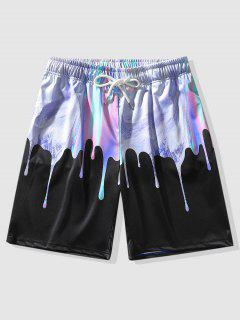 Drip Iridescent Print Shorts - Black Xl