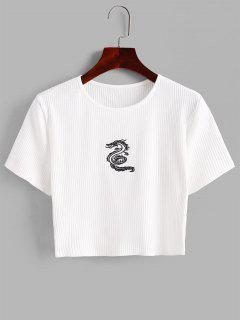 Drache Gesticktes Geripptes Baby T-Shirt - Weiß M