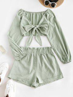 Tie Front Cropped Top Paperbag Shorts Two Piece Set - Light Green M