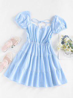 ZAFUL Puff Sleeve Backless Tiered Dress - Light Blue S