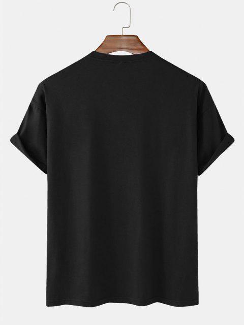 Planet Astronaut Print Basic T-shirt - أسود L Mobile