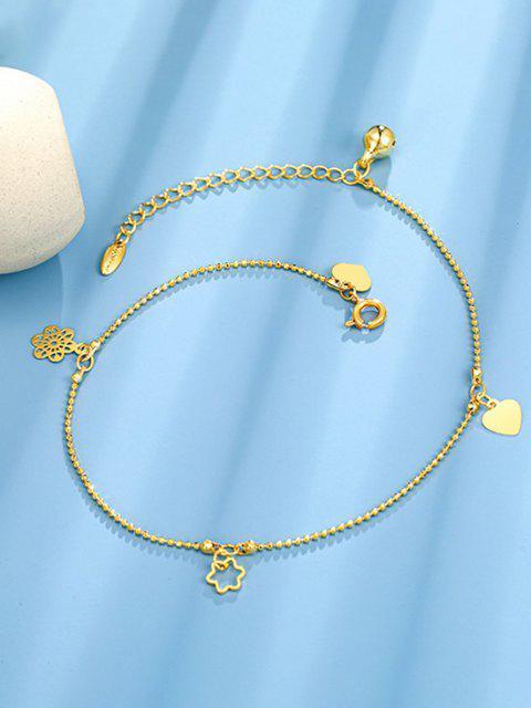Vorstehender Zunge Herz Blumen Glocke Charme Fußkettchen - Golden  Mobile
