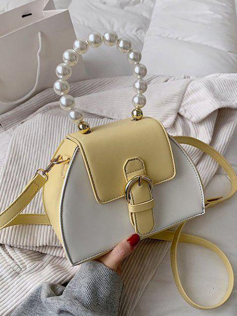 Künstliche Perle Griff Schnalle Farbblock Umhängetasche - Sonne Gelb  Mobile